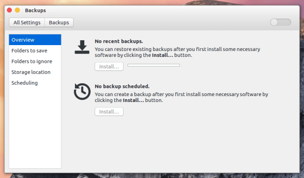 backup on ubuntu 16.04