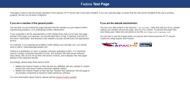 fedora test page apache