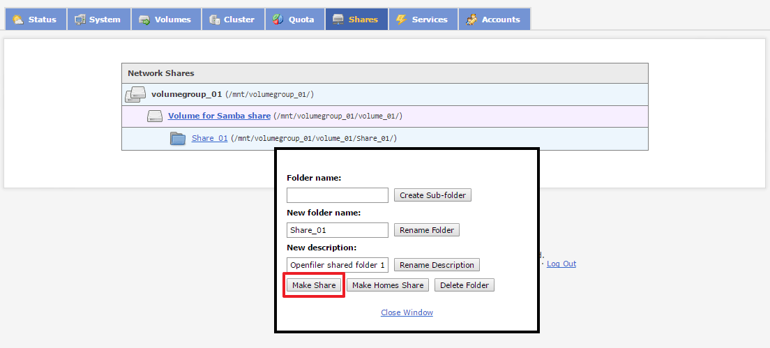 create new shared folder on openfiler.png