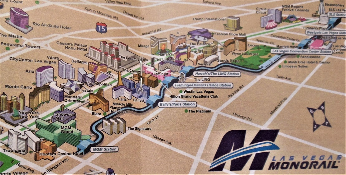 How Much Does The Las Vegas Strip Monorail Cost Ticket Prices Map - Las vegas map of hotels