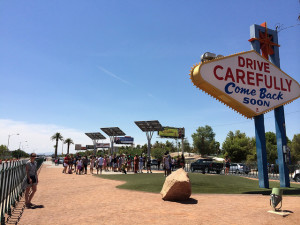 The photo and parking area around the Welcome to Fabulous Las Vegas Sign
