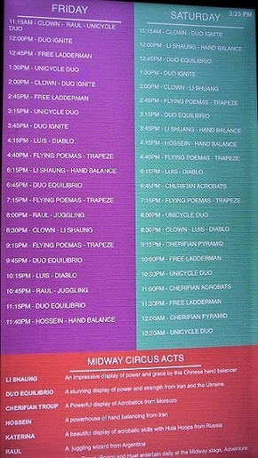 A recent schedule of times for the Circus Circus show acts