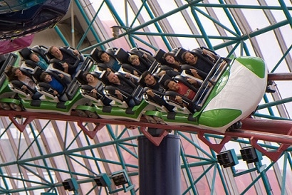 The Canyon Blaster roller coaster at Adventuredome