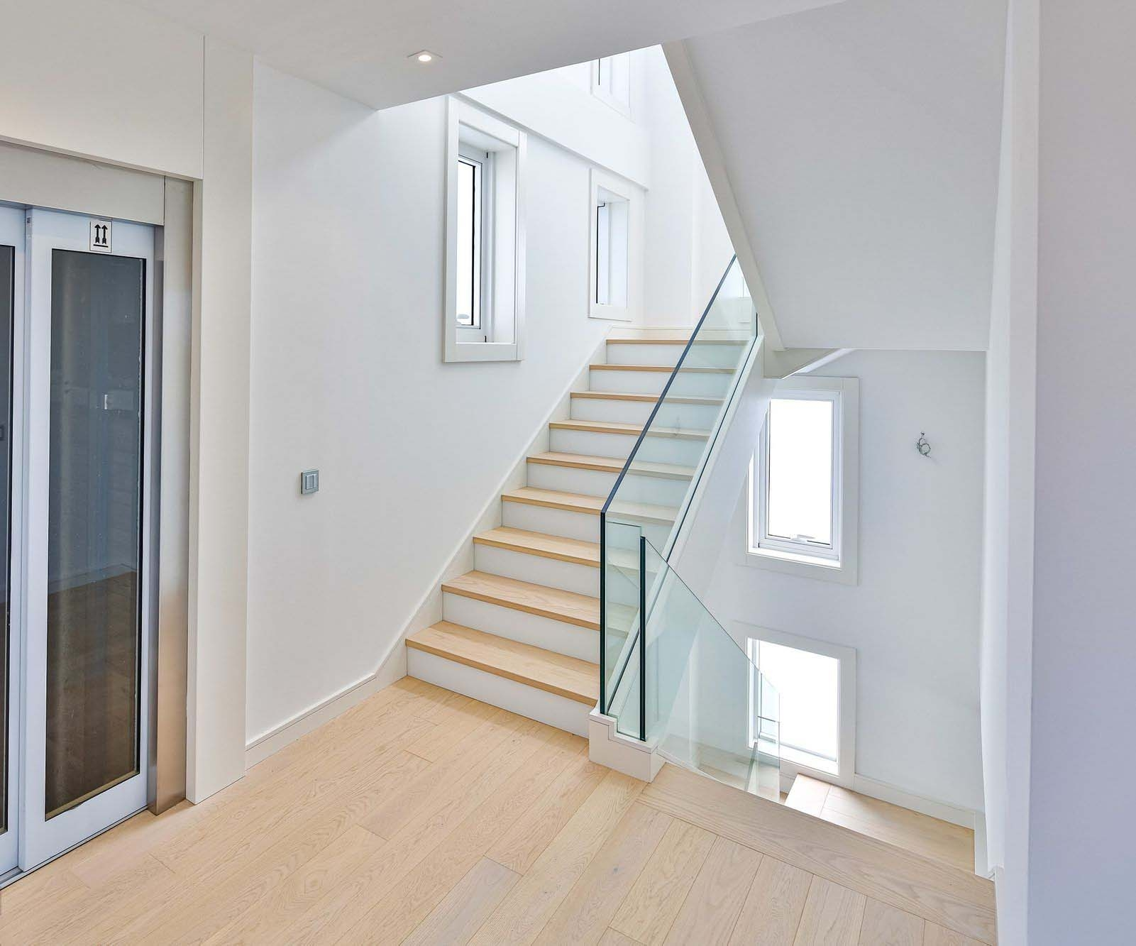 Modern Staircase Design Contemporary Stair Design Ideas   Wooden Stairs With Lights   Light Gray   Motion Sensor   Side   Glass   Backyard Wood