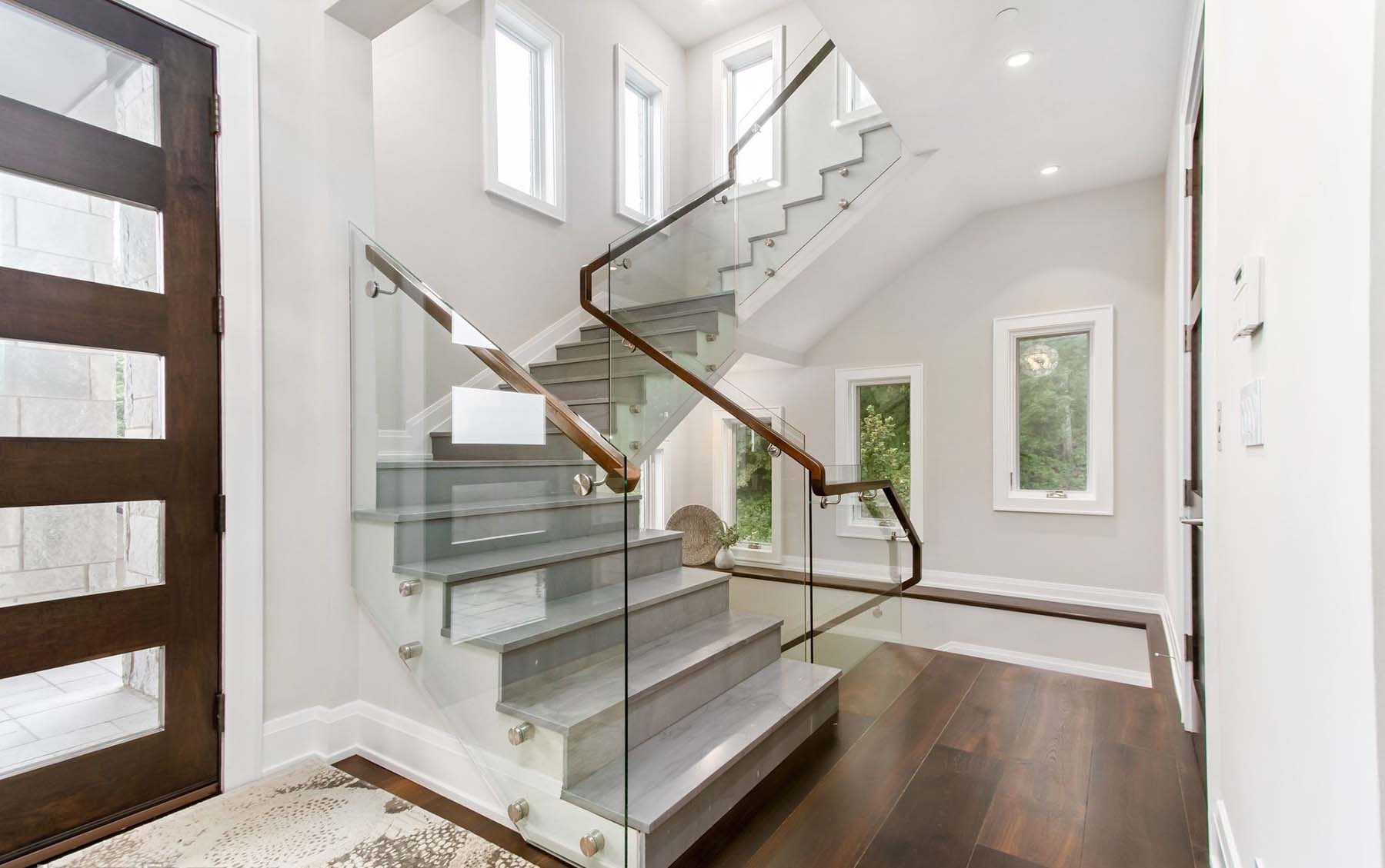 Modern Staircase Design Contemporary Stair Design Ideas   White Wood And Glass Staircase   Design   70'S   Thick Solid Oak Stair   Bannister   Indoor Glass