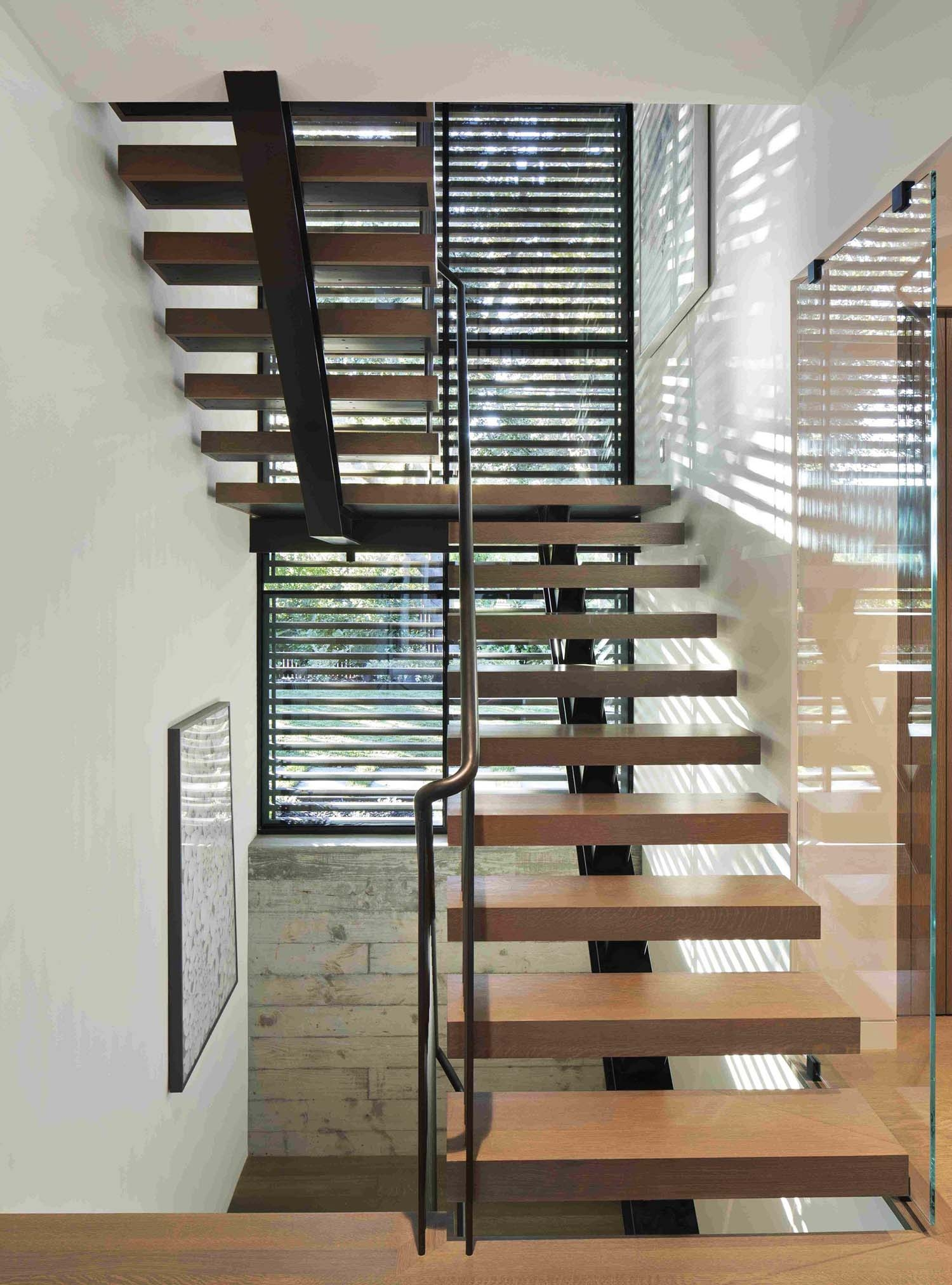 Modern Staircase Design Contemporary Stair Design Ideas | Staircase Design Steel And Wood | Angle Bar Stair | U Shaped Stair | Simple | Wooden Step | Open