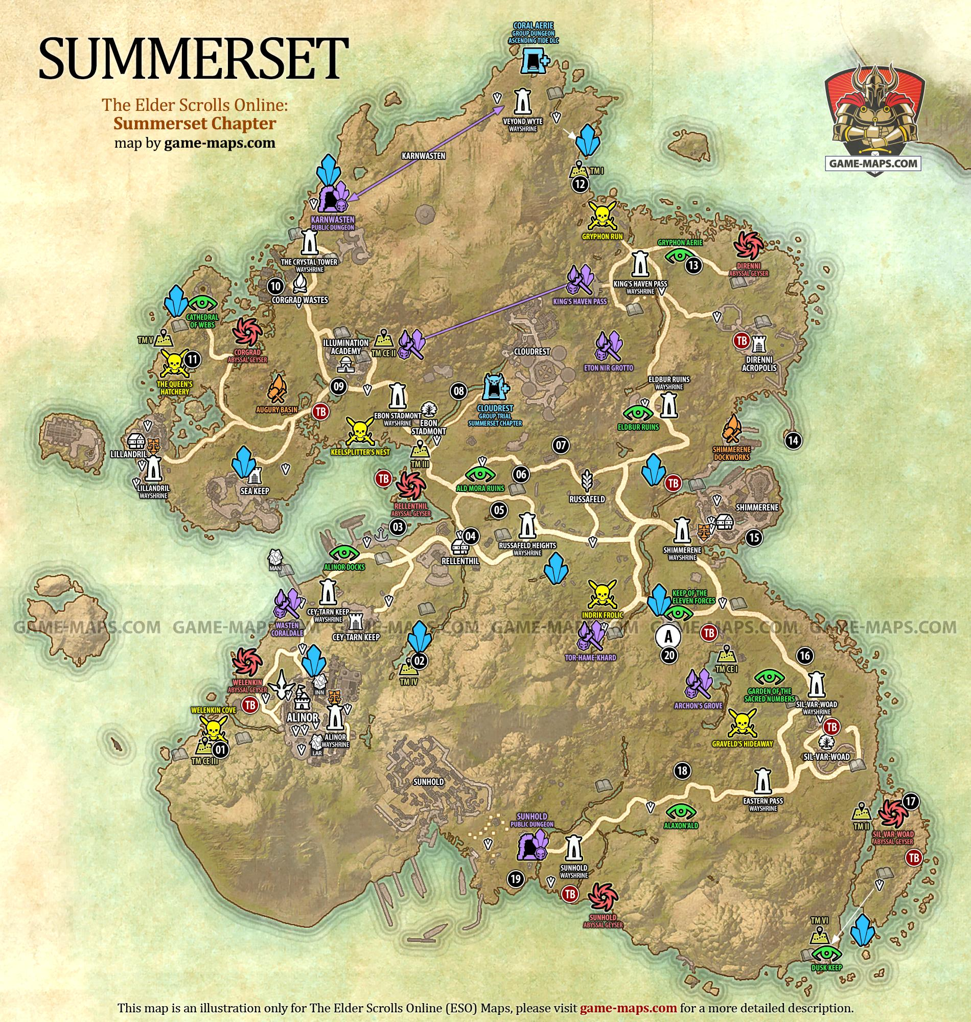 Eso Stormhaven Treasure Map : stormhaven, treasure, Summerset, Elder, Scrolls, Online, Game-maps.com