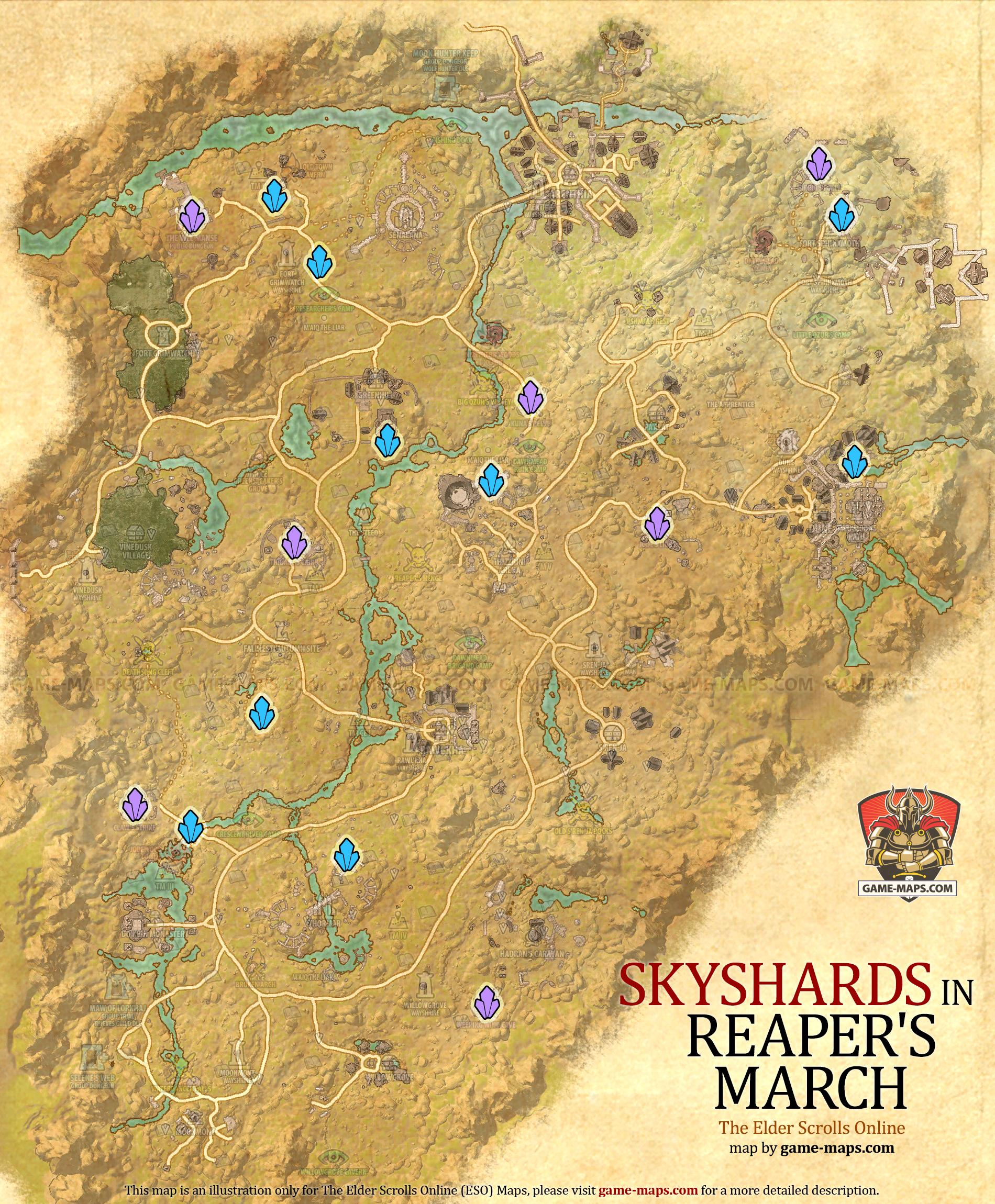 Malabal Tor Map : malabal, Reaper's, March, Skyshards, Location, Game-maps.com