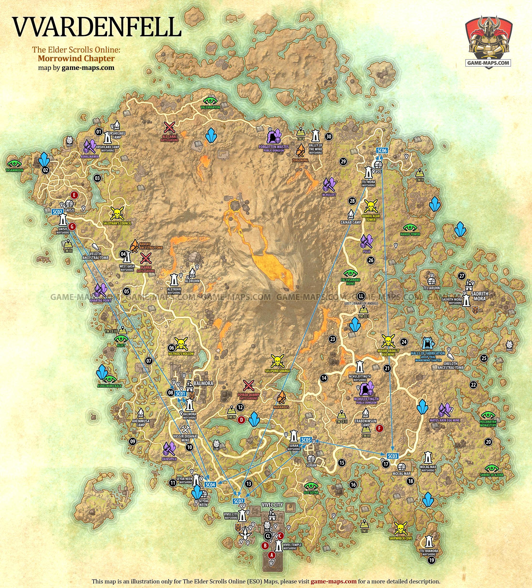 Eso Auridon Treasure Map 5 : auridon, treasure, Vvardenfell, Elder, Scrolls, Online:, Morrowind, Game-maps.com