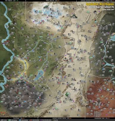 Fallout 76: Map of Appalachia, West Virginia.
