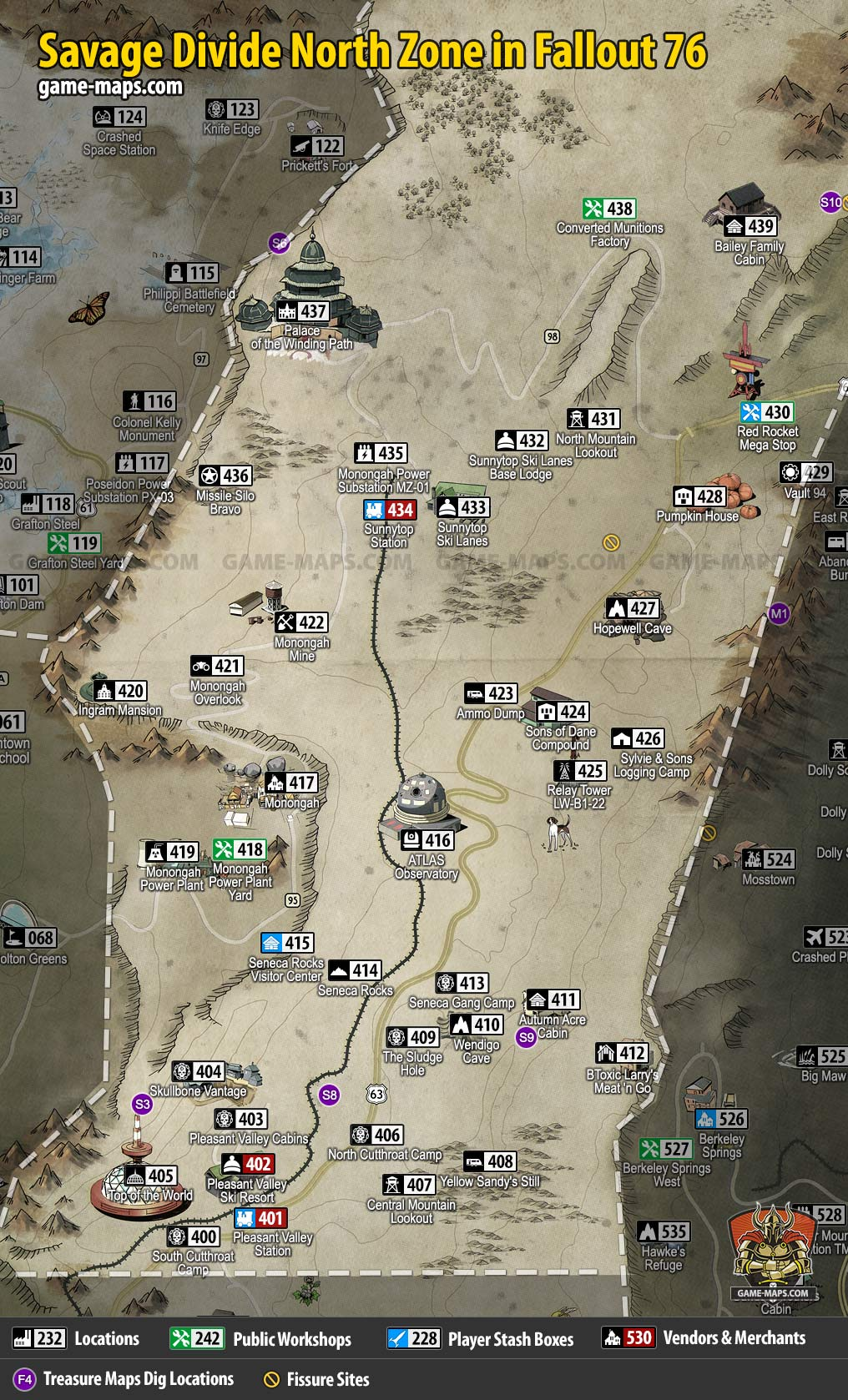 Fallout 76 Forest Treasure Map 2 : fallout, forest, treasure, Savage, Divide, North, Fallout, Game-maps.com