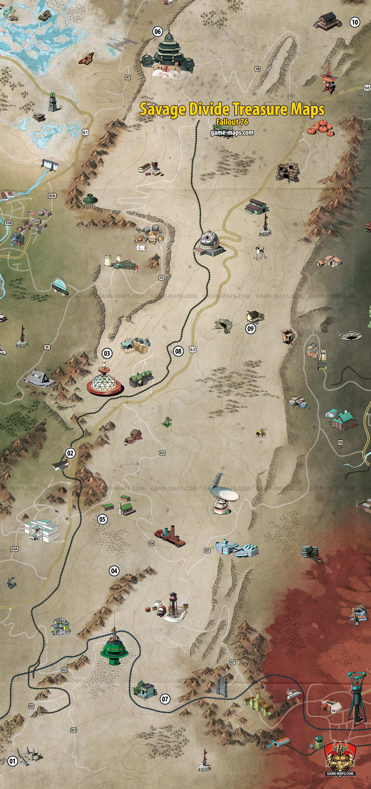 Fallout 76 Savage Divide Treasure Map 3 : fallout, savage, divide, treasure, Savage, Divide, Treasure, Fallout, Game-maps.com