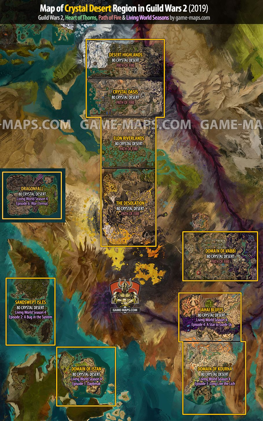 Path Of Fire Map : Crystal, Desert, Region, Guild, (2019), Game-maps.com