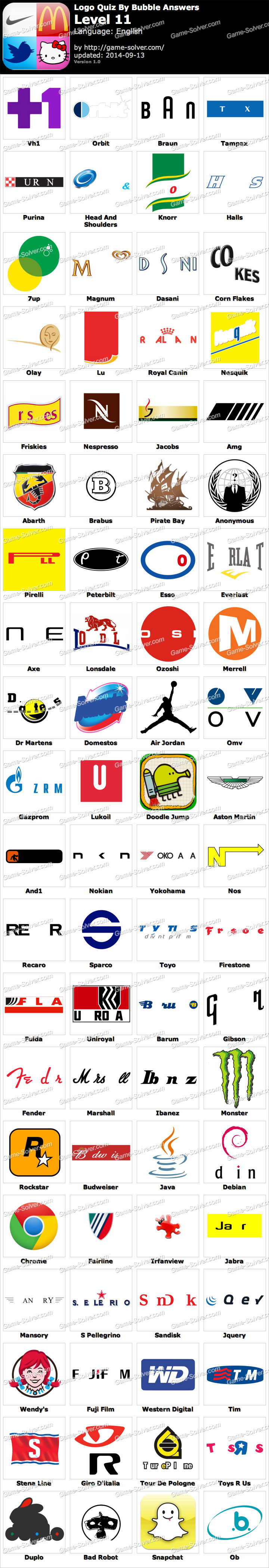 Logo Quiz By Bubble Answers Level 11