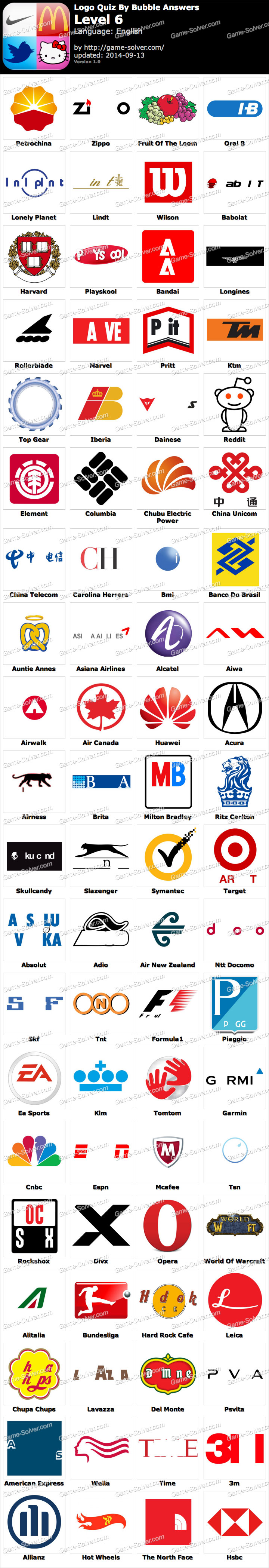 Logo Game Answers Level 6 : answers, level, Bubble, Answers, Level, Solver