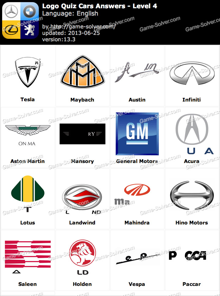 Logo Quiz Cars Answers Level 4
