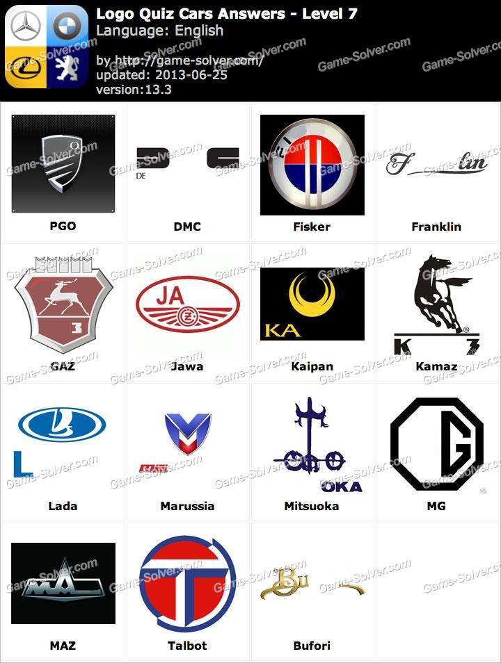 Logo Quiz Cars Answers Level 7