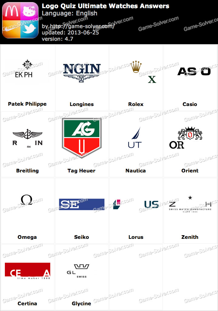 Logo Quiz Ultimate Watches Answers