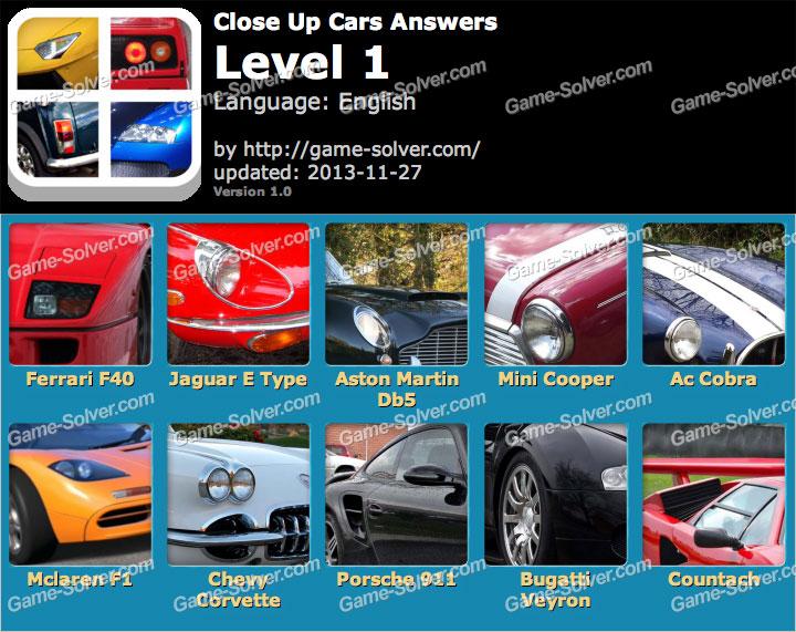 Close Up Cars Level 1