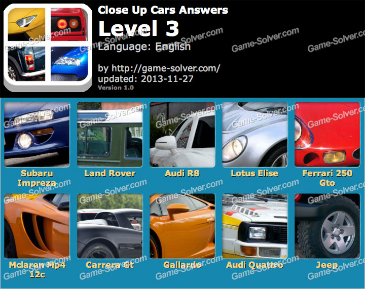 Close Up Cars Level 3