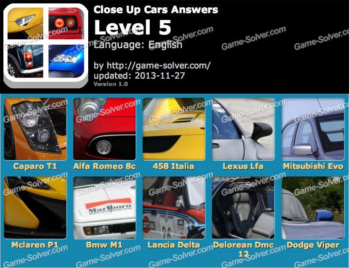 Close Up Cars Level 5