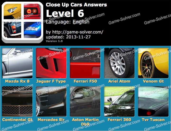 Close Up Cars Level 6
