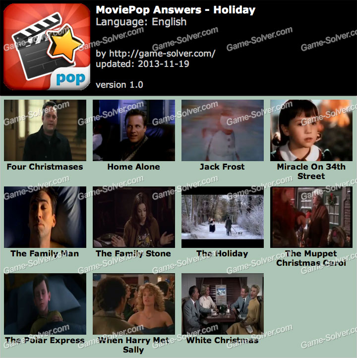 MoviePop Holiday Answers