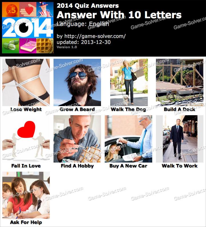 2014 Quiz 10 Letters