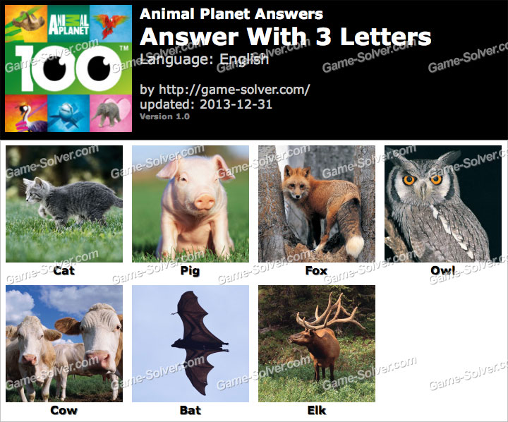 Animal Planet 3 Letters