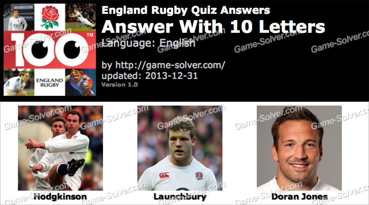 England Rugby Quiz 10 Letters