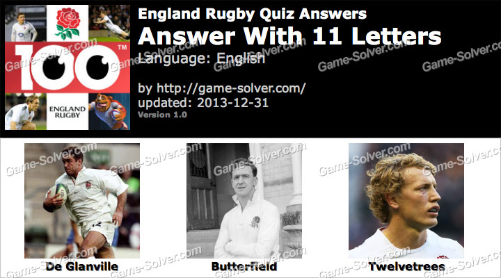 England Rugby Quiz 11 Letters