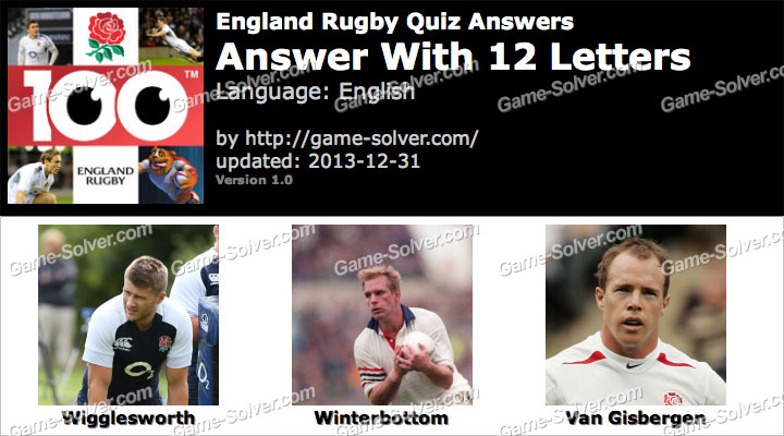 England Rugby Quiz 12 Letters