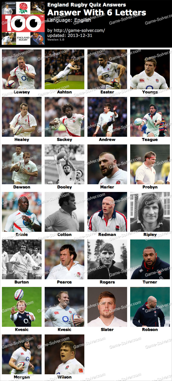 England Rugby Quiz 6 Letters