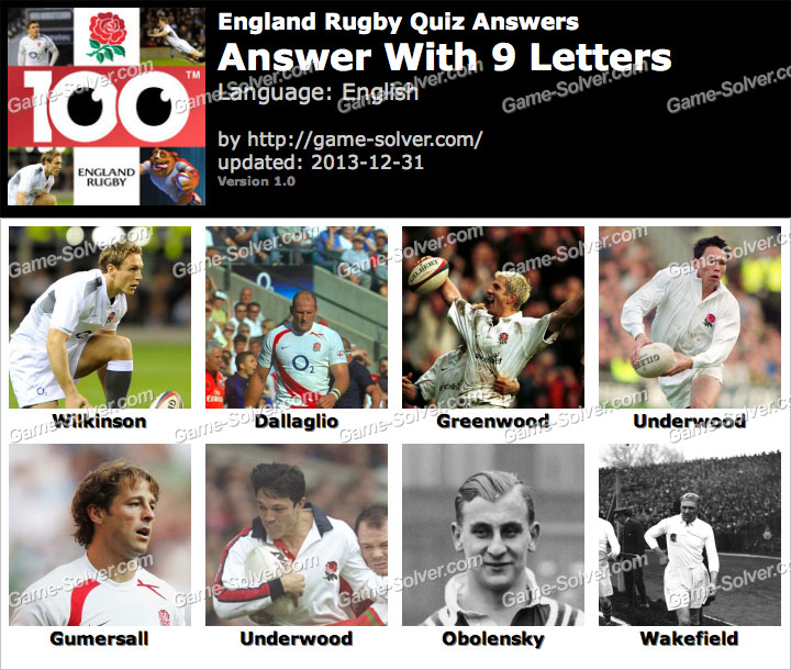 England Rugby Quiz 9 Letters
