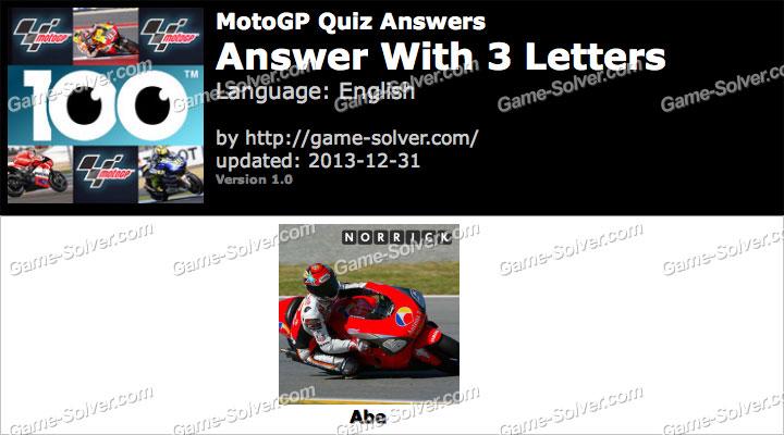 MotoGP Quiz 3 Letters