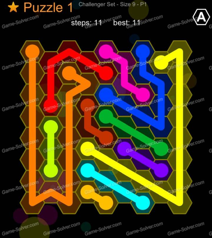 Hexic Flow Challenger Set Size 9 P1 Puzzle 1