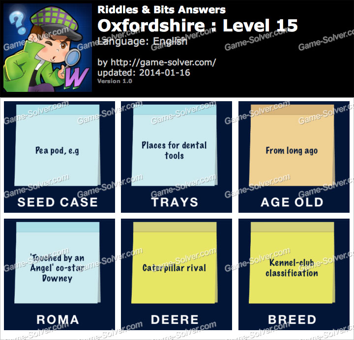 Riddles and Bits Oxfordshire Level 15