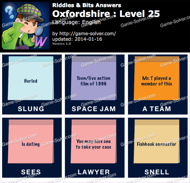 Riddles and Bits Oxfordshire Level 25