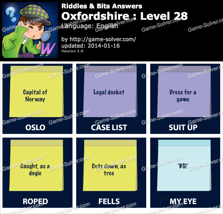 Riddles and Bits Oxfordshire Level 28