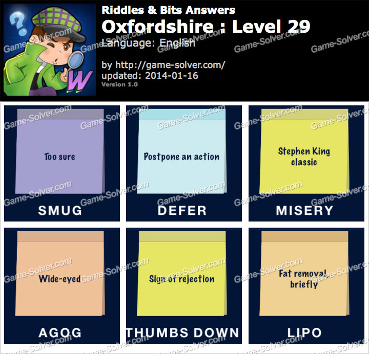 Riddles and Bits Oxfordshire Level 29