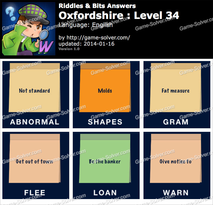 Riddles and Bits Oxfordshire Level 34