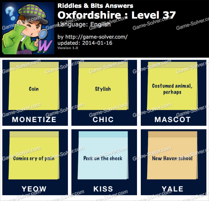 Riddles and Bits Oxfordshire Level 37