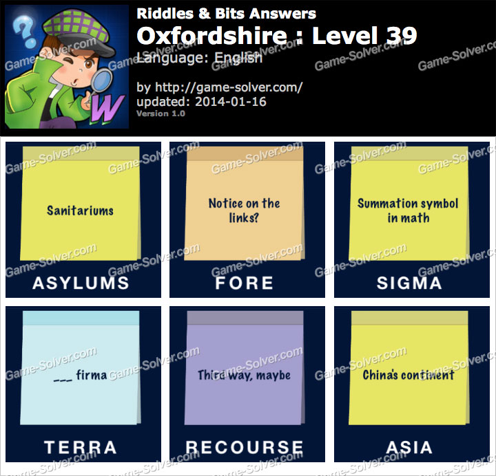 Riddles and Bits Oxfordshire Level 39