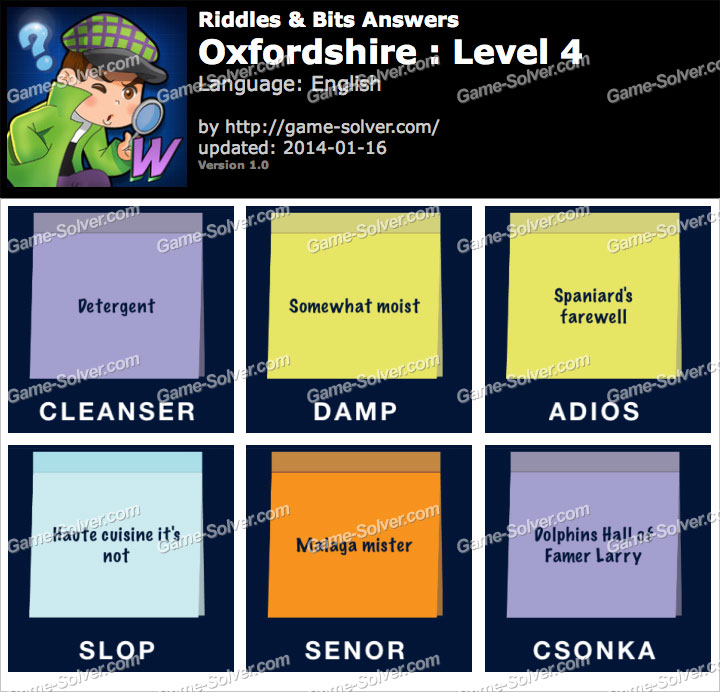 Riddles and Bits Oxfordshire Level 4