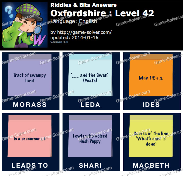 Riddles and Bits Oxfordshire Level 42