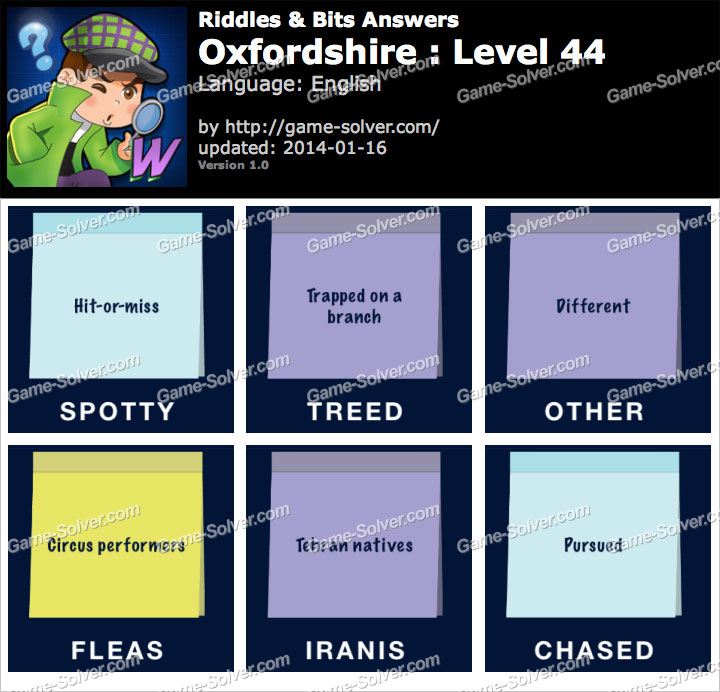 Riddles and Bits Oxfordshire Level 44
