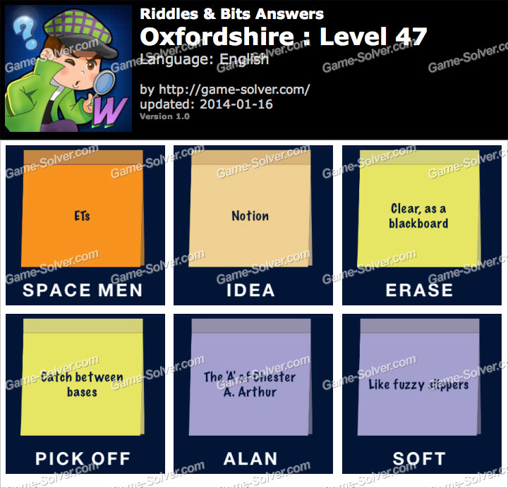 Riddles and Bits Oxfordshire Level 47