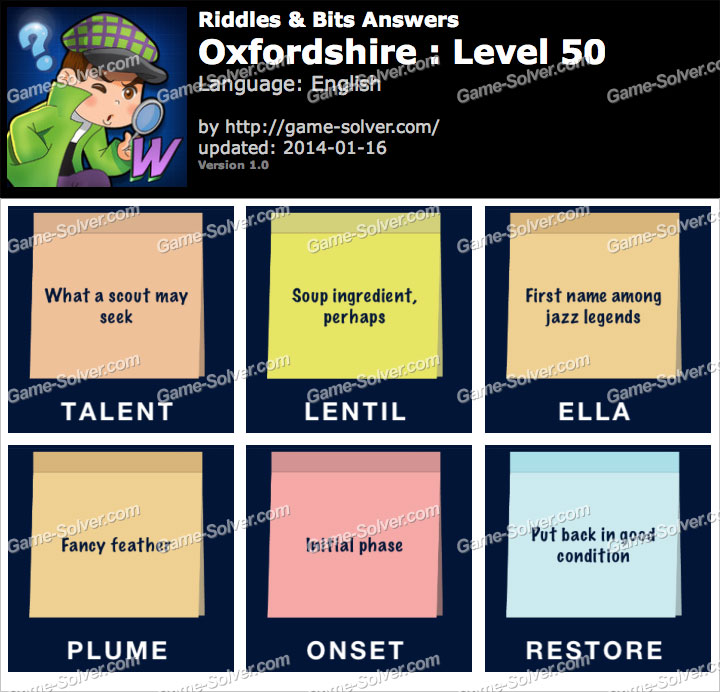 Riddles and Bits Oxfordshire Level 50