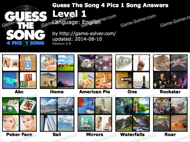 Guess The Song 4 Pics 1 Song Level 1