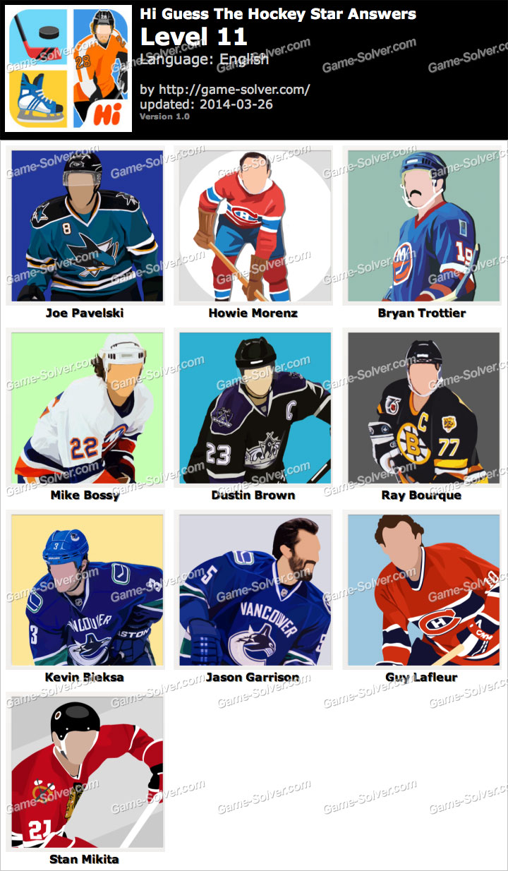 Hi Guess The Hockey Star Level 11